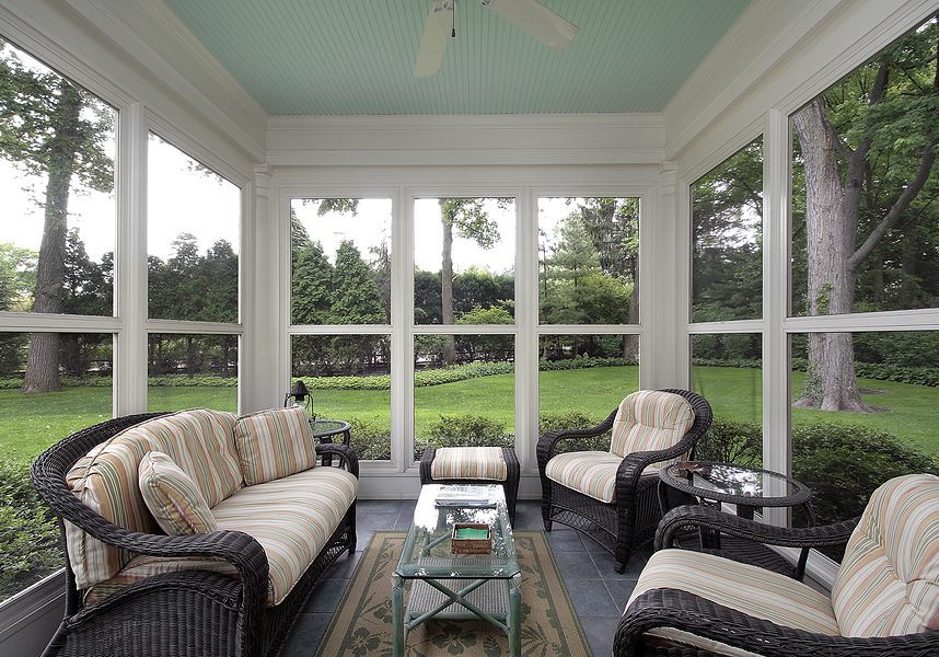 This is a picture of a screened in porch.